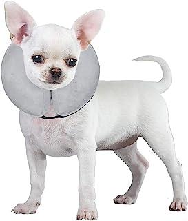 E-KOMG *后狗狗锥体,保护性充气项圈,吹塑狗项圈,宠物狗和猫咪宠物恢复项圈,柔软(小号(6-9英寸),灰色)