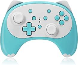 KINGEAR 无线 Pro 控制器适用于 Nintendo Switch/Switch Lite 控制台,卡通猫蓝牙遥控游戏手柄支持唤醒、陀螺轴、涡轮和双振动【2020 *版】