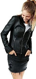 Prastara 女式短羊皮骑行者皮革拉链夹克/外套适合冬季