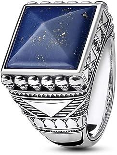 THOMAS Sabo 男式戒指民族骷髅蓝色 925 纯银,黑色 TR2206-531-1
