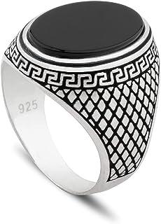 Chicotta 希腊风格纯银男士戒指镶黑玛瑙石