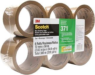 Scotch 371 工业级包装胶带,棕褐色,72 毫米 x 50 米,高性能密封胶带,适用于中型商业盒和纸箱密封,移动,包装和运输,6 件装