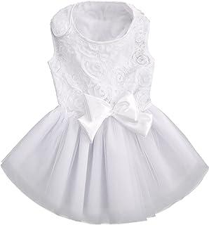 ASENKU 狗狗礼服宠物婚纱礼服公主蕾丝小狗生日派对服装正式服装女孩适合中小型犬猫(小号,白色)