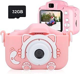 COKUTA 儿童相机适用于 3-12 女童,防震 1080P 幼儿数码摄像机,带 32GB SD 卡,适合生日、圣诞节、600 毫安,粉色