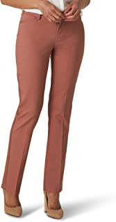 Lee Women's Misses Secretly Shapes Regular Fit Straight Leg Pant, Cognac, 16 Short