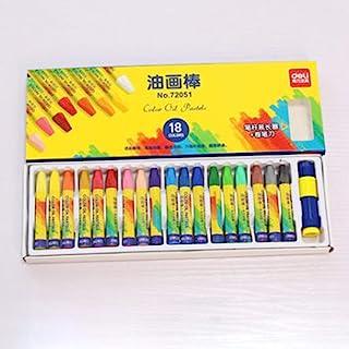 12/18/24/36 彩色油画蜡笔油画棒软粉儿童绘画套装光滑混合艺术用品粉彩铅笔适用于儿童和成人学校颜色棒,包括铅笔卷笔器和卷筒延长器(18 种颜色)