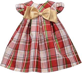 Bonnie Jean 女婴格子花呢假日圣诞裙,带金色蝴蝶结
