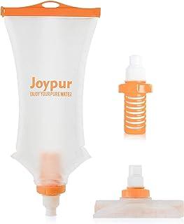 joypur 便携式过滤水瓶露营 2 级集成可折叠水净化器带过滤器,耐力运动、徒步旅行和背包,20 盎司