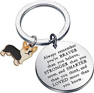 KUIYAI Corgi 情人礼物钥匙扣鼓舞人心的礼物 你是勇敢更聪明的比你想的更聪明钥匙扣搞笑柯基犬礼物爱好者礼物
