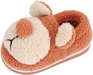 LACOFIA 幼儿女孩冬季拖鞋可爱动物拖鞋小儿童房鞋毛绒保暖拖鞋