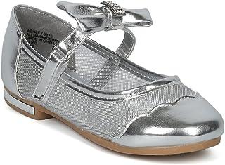 Alrisco 女童网状面板蝴蝶结玛丽珍芭蕾平底鞋 HH12