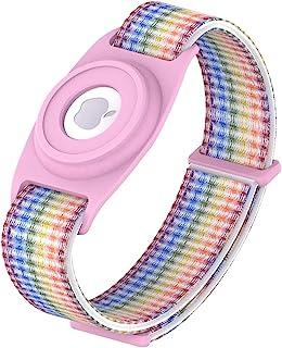 儿童手镯 Airtag 保护套,尼龙腕带 Airtag 支架,手表带 Airtag GPS 追踪保护盖,可调节防丢失 Airtag 保护套,适合幼儿和老人(彩虹 + 粉色)