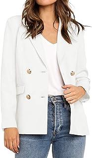 Utyful 女式休闲缺口翻领双排扣口袋外套