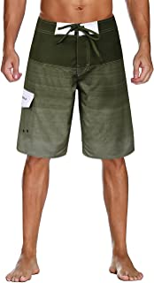 NONWE 男式速干图案泳裤彩色条纹沙滩短裤带网眼内衬