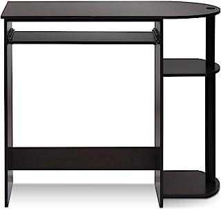 Furinno 简单组装电脑桌,带键盘托盘,深棕色 / 黑色