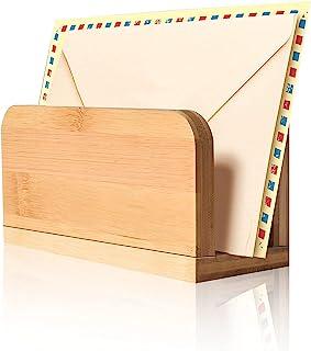 wishacc 竹木台面邮件信夹,桌面垂直钞票分类器复古文件夹架小纸托盘可爱信封收纳盒,适用于桌面办公室家居装饰