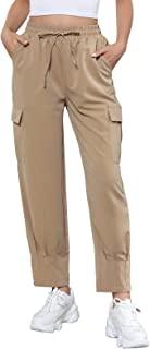 Kate Kasin 女式弹性高腰工装裤轻质休闲户外抽绳慢跑裤带口袋