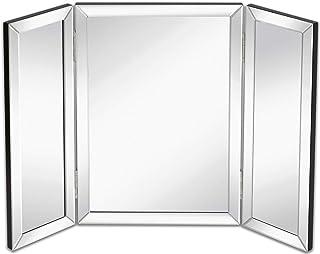 Hamilton Hills 三折化妆镜 | 实心铰链侧三折斜面镜面边缘 | 3 种方式悬挂在墙壁或桌面化妆品和化妆镜 21 x 30 英寸(约 53.3 x 76.2 厘米)