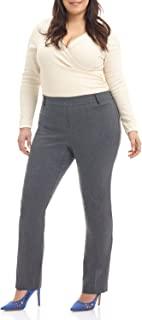 Rekucci Curvy 女士轻松舒适直筒加大码长裤带收腹