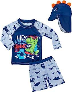 XmasPJS 婴儿幼儿男孩两件套泳装鲨鱼泳衣*泳衣带帽子 UPF 50+