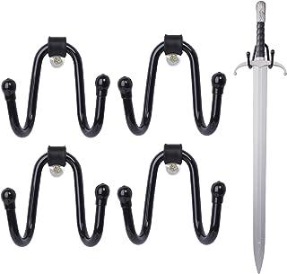 LEKUSHA 4 件小型可调节剑壁挂式剑展示架挂钩,用于斧子、剑、钥匙扣 - 垂直或水平显示 - 黑色