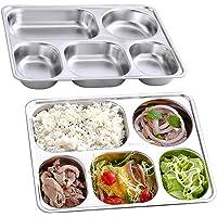 AOOMOY 304 不锈钢分格盘(2 件套)分格餐盘、露营菜肴、晚餐小吃,非常适合成人、儿童、露营者