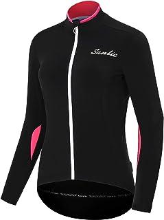 Santic 女式骑行运动衫长袖自行车运动衫自行车夹克全拉链网眼透气吸湿排汗快干带后口袋