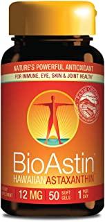 BioAstin 夏威夷虾青素,12mg,50粒-夏威夷种植的优质抗氧化剂-每天一次-运动营养和机体抵抗能力补充剂-支持双眼,关节和机体器官
