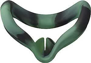 MASiKEN VR 面部硅胶面罩和面罩兼容 Oculus Quest 2 面部靠垫套防汗享受 Oculus VR 更加舒适(丛林)