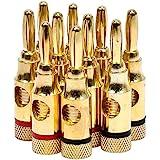 Monoprice 109437 高质量铜质扬声器香蕉插头 - 5 对, 开启螺旋式