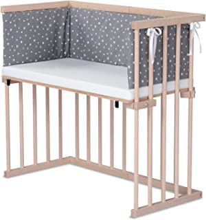 dreamgood 婴儿床 天然山毛榉材质 | 床垫 Prime Air | 嵌套,钻石灰色斑点星星 白色