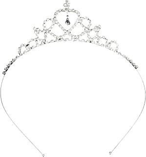 Katara 1669 婚礼皇冠水钻皇冠金属发饰品适合新娘、公主、女王、银色