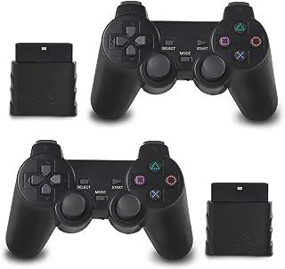 OUBLANC 无线控制器 PS2,2.4G 双振动游戏控制器游戏手柄遥控器,适用于 Sony 索尼 Playstation 2/PS2(2 件装喷射黑色)