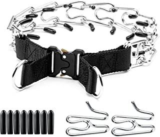 狗爪项圈,训练项圈战术金属扣狗狗夹项圈,带 2 个额外夹扣,颈圈适合小型中大型犬(L / 颈围 17-22 英寸(约 43.18-55.88 厘米),黑色)