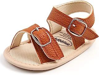 SOFMUO 女婴男孩闪亮凉鞋高级柔软防滑橡胶鞋底婴儿夏季户外鞋幼儿学步鞋 A/Brown 6-12 Months Infant