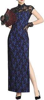 女式旗袍服装丝绒后背性感蕾丝透视高开叉中式无袖舞会长裙