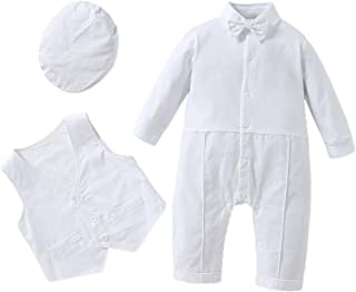 HOSUKKO 男婴套装,长袖连身衣,背心,蝴蝶结,男婴绅士套装,适合正式场合(0-24 个月) 白色 7-12 Months