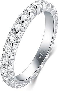 BORUO 925 纯银戒指,方晶锆石婚戒可叠放戒指 3 毫米
