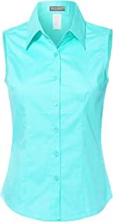 LE3NO 女士轻质棉质无袖系扣衬衫