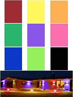 9 件凝胶过滤器透明色校正凝胶滤光片彩色覆盖透明膜塑料片(9 种颜色),11.7 x 8.3 英寸(约 27.9 x 21.9 厘米),适合户外景观、摄影