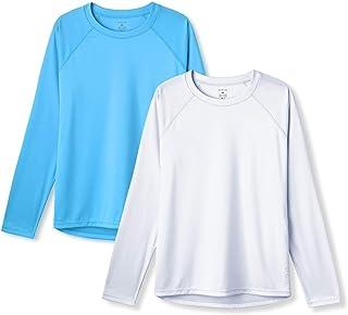 ATHLIO 2 件装女式 UPF 50+ 长袖防紫外线/*户外凉爽干燥 T 恤,运动性能徒步衬衫