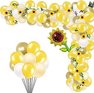 向日葵派对装饰 124 件向日葵生日派对装饰带向日葵花环黄色气球吸管适合生日派对婚礼婴儿沐浴装饰