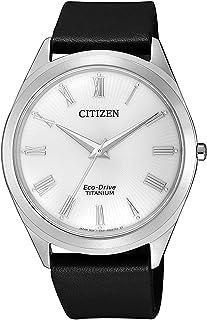 Citizen 西铁城 男士指针式石英手表皮革表带BJ6520-15A