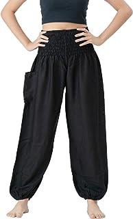 B BANGKOK 裤子女式哈伦嬉皮裤波西米亚服装 黑色经典 20-24 Plus