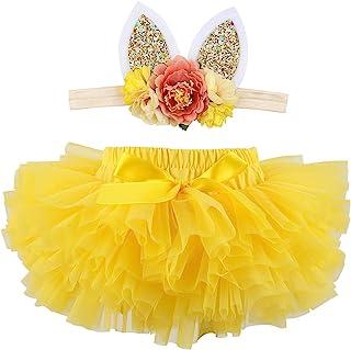 HOOLCHEAN 婴幼儿女童超柔软蓬松蓬蓬裙和头带套装,带尿布罩 Bloomer