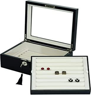双层袖扣环收纳盒/盒,亮黑色