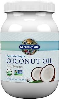 Garden of Life 生命花园特级初榨椰子油 - 未精炼的冷压椰子油可以用于烹调,56盎司(约1.6千克)