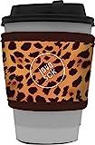 Java Sok 可重复使用热咖啡杯隔热套,适用于星巴克咖啡、麦唐纳兹、邓肯甜圈等 豹纹色