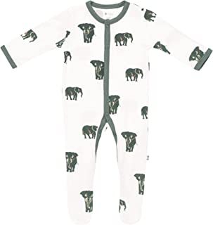 KYTE BABY 中性柔软竹纤维人造丝连脚服,按扣封口,印花,0-24 个月 大象灰 6-12 Months
