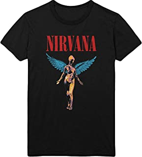 Nirvana T 恤 Utero Angelic Band 标志官方男式黑色